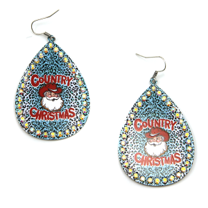 Christmas Earring 330a 18 Treasure Country Christmas Santa Earrings leopard turquoise