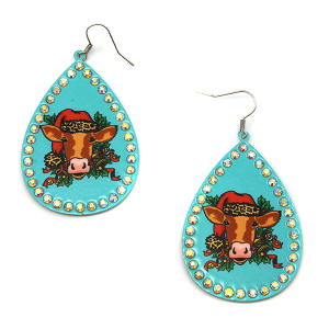 Christmas Earring 304a 18 Treasure cow leopard earrings turquoise