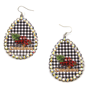Christmas Earring 337 18 Treasure truck haul xmas tree plaid black white plaid