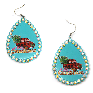 Christmas Earring 293a 18 Treasure truck haul xmas tree plaid turquoise