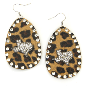 Earring 4587 18 Treasure leather leopard rhinestone texas earrings silver