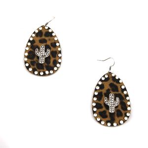 Earring 3519d 18 Treasure tear drop rhinestone leopard earrings cactus silver