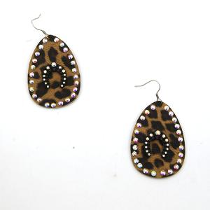 Earring 3512c 18 Treasure tear drop rhinestone leopard earrings arc black