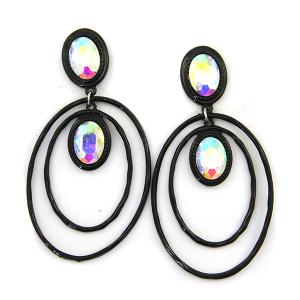 Earring 4572 18 Treasure stud gem dangle hoop earrings black