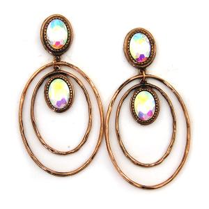 Earring 4574 18 Treasure stud gem dangle hoop earrings copper