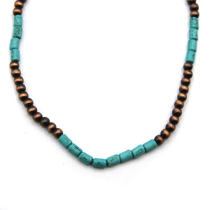 Necklace 1307d 18 Treasure navajo bead choker necklace copper turquoise