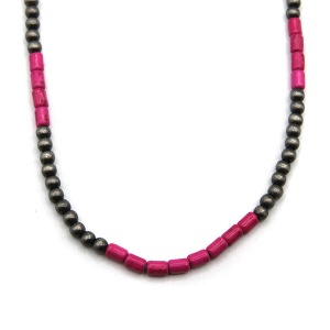 Necklace 1423b 18 Treasure navajo bead choker necklace pink