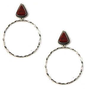 Earring 3316b 18 Treasure stud navajo hoop earrings triangle stone red