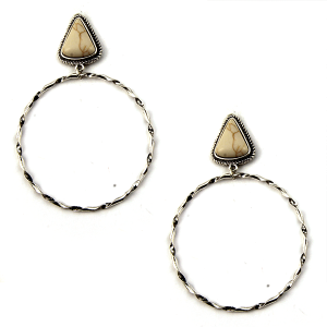 Earring 1955a 18 Treasure stud navajo hoop earrings triangle stone white