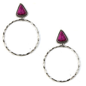 Earring 1909b 18 Treasure stud navajo hoop earrings triangle stone pink