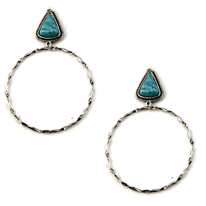 Earring 1883b 18 Treasure stud navajo hoop earrings triangle stone turquoise