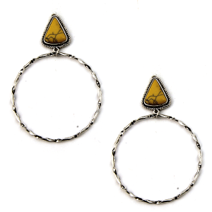 Earring 3309a 18 Treasure stud navajo hoop earrings triangle stone yellow