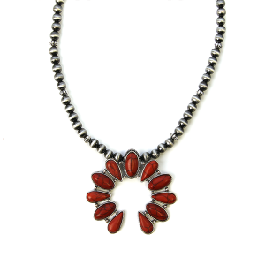 Necklace 1065 18 Treasure bead c stone arc necklace red