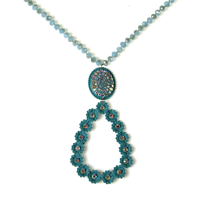 Necklace 886 18 Treasure tear drop bead rhinestone necklace turquoise