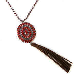 Necklace 1055 18 Treasure bead concho tassel necklace burgundy red