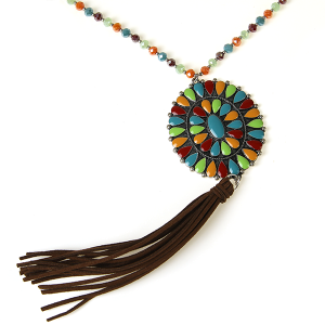 Necklace 734 18 Treasure concho bead necklace multicolor brown tassel