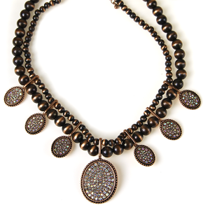 Necklace 639 18 Treasure concho bead rhinestone necklace copper ab