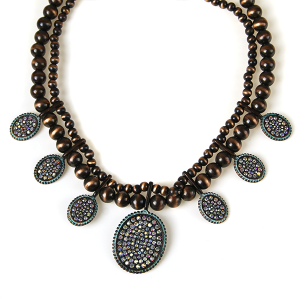 Necklace 726 18 Treasure concho bead rhinestone necklace patina copper
