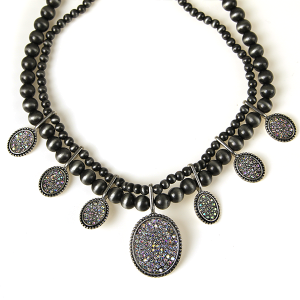 Necklace 615 18 Treasure concho bead rhinestone necklace silver ab grey
