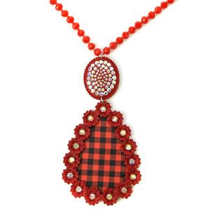 Necklace 1094 18 Treasure red bead necklace buffalo plaid tear drop rhinesetone