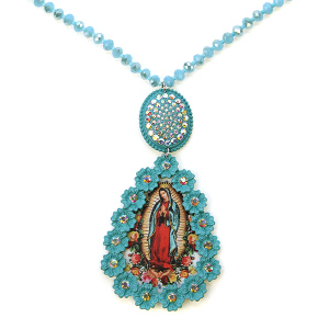 Necklace 260a  18 Treasure rhinestone bead virgin mary necklace turquoise