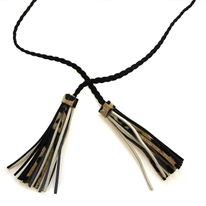 Necklace 1362d 18 Treasure rope double tassel necklace leopard black