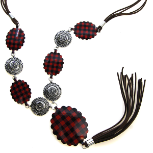 Necklace 1102h 18 Treasure western concho link necklace buffalo plaid black red tassel