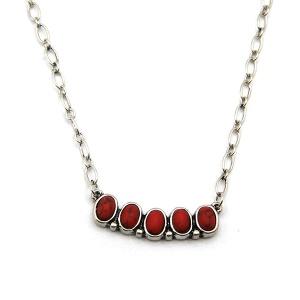 Necklace 563b 18 Treasure navajo style choker chain red