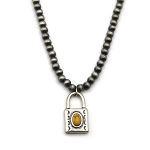 Necklace 325d 18 Treasure bead lock navajo necklace choker yellow