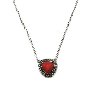 Necklace 1669a 18 Treasure navajo stone red necklace choker