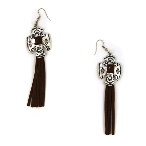 Earring 1323c 12 Tipi navajo tassel earrings brown