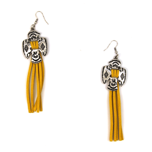 Earring 1325c 12 Tipi navajo tassel earrings yellow