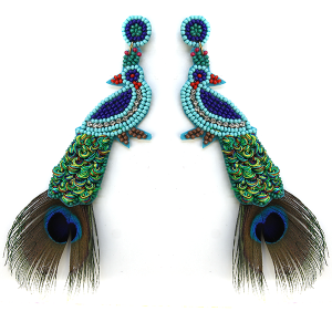 Earring 627e 18 Treasure seed bead peacock earrings multicolor long