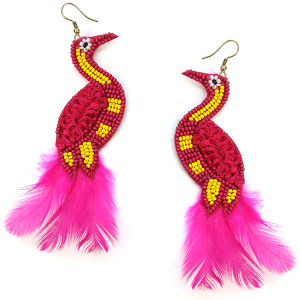 Earring 625l 18 Treasure seed bead peacock earrings pink