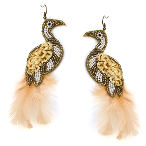 Earring 621f 18 Treasure seed bead peacock earrings beige