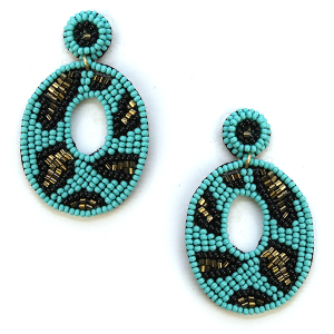 Earring 096d 18 Treasure seed bead earrings turquoise