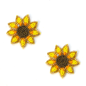 Earring 636a 18 Treasure seed bead sunflower earrings stud
