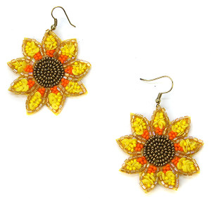 Earring 635e 18 Treasure seed bead sunflower earrings hook