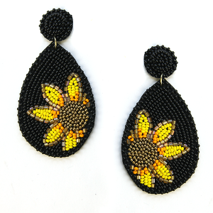 Earring 632j 18 Treasure seed bead sunflower earrings black