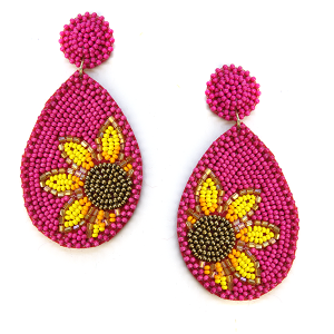 Earring 628c 18 Treasure seed bead sunflower earrings fuchsia