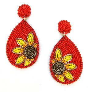 Earring 630h 18 Treasure seed bead sunflower earrings red