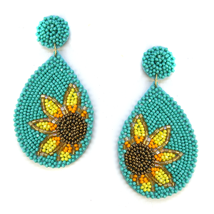 Earring 631a 18 Treasure seed bead sunflower earrings turquoise