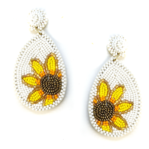 Earring 633p 18 Treasure seed bead sunflower earrings white
