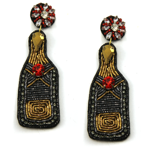 Christmas Earring 340 18 Treasure new years wine bottle earrings seed bead