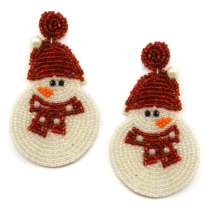 Christmas Earring 338 18 Treasure seed bead stud dangle snowman earrings