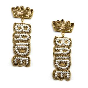 Earring 4966 18 Treasure seed bead stud dangle crown bride earrings