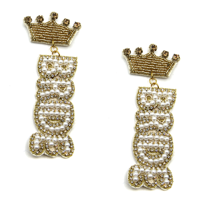 Earring 2727i 18 Treasure seed bead stud dangle crown bride earrings