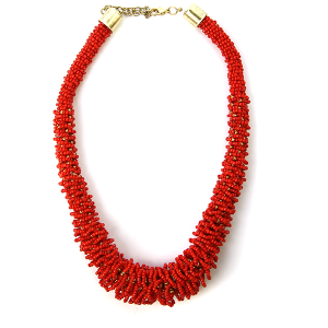 Necklace 461a 18 Treasure seed bead collar necklace red