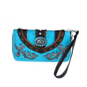 CS 2062W133 Western rhinestone floral wallet turquoise