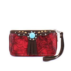 CS 2062W53 Western turquoise stone wallet red